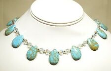 Water Drop Turquoise and Swarovski Crystal Necklace 16""