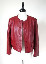 UK 10 - Leather Bolero/ Box Leather Jacket- Oxblood Red - Yuppie