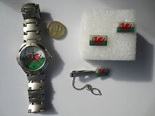 Round Rugby Football Wales Cymru flag Wrist Watch Tie Pin and Cufflinks set #3