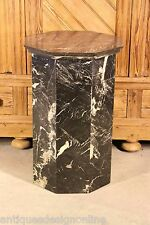 Solid black marble Art Deco PEDESTAL COLUMN STAND 8 sided nice polished antique