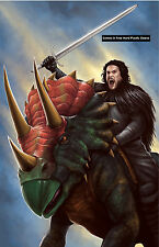 Game of Thrones Jon Snow/Triceratops Glossy Print 11 x 17 In Hard Plastic Sleeve