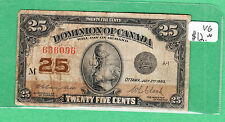 1923 Dominion of Canada - 25 Cents Bank Note - Campbell - Clark -  636096 - VG