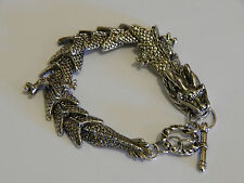 Stunning tibetan silver Mens dragon bracelet 8 inches long and heavy