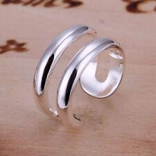 RU Nuevos plateado plata anillo de línea de doble línea de Abierta Ajustable (083)