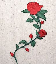 Iron On Embroidered Applique Patch Large Red Roses on Vine Stem 695735AR