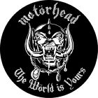 Motorhead circular self cling vinyl sticker 120mm Lemmy The World Is Yours