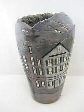Large Ceramic Vase RAINBOW ROW Charleston SC by H Sheppard & Omega Concepts
