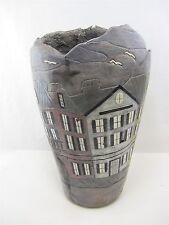 Large Ceramic Vase RAINBOW ROW Charleston SC by H Sheppard & Omega Concepts