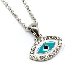 New Silver Tone Crystal Blue Enamel Evil Eye Pendant Necklace in Gift Box