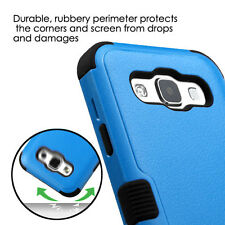For SAMSUNG Galaxy E5 / S978L BLUE BLACK TUFF HYBRID ACCESSORY SKIN COVER CASE
