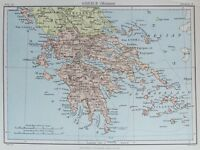 OLD ANTIQUE MAP GREECE GREEK ISLANDS c1880's by JOHNSTON 19th C PRINTED COLOUR