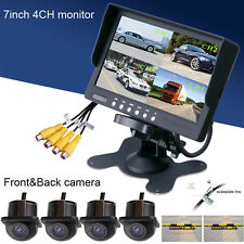 "Car 360° 7"" TFT 4Split Quad DVD Screen+Waterproof Rear View Monitor/4Camera kit"