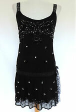 SEXY Morgan De Toi BLACK MINI DRESS/LONG TUNIC TOP Vtg 1920s Inspired 8-10 NWT