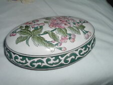 VINTAGE ANTIQUE APPLE BLOSSOM PORCELAIN JEWELRY BOX FOR VANITY