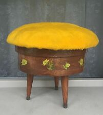 VTG Round Wooden Cheese Box Sewing Stool Floral Handmade  Cushion 3 Gerber Legs