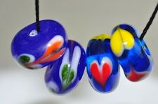 4Pcs12x6mm Artsy~Vintage Fancy LAMPWORK Glass Hand-painted Rondelle Beads L0848