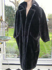 Gianni Versace DESIGNER couture1980s faux fur coat /mink brown beaver style sml