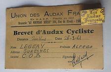 CYCLISME - insigne les audax francais avec brevet 1961 ( 188 J)