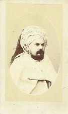 Photo cdv : Rozier , Portrait d'un arabe au turban et barbe noire  , vers 1868