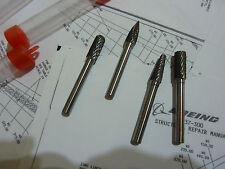 """snap on 1/4""""stem Tungsten Carbide Rotary Burr file aviation aircraft tools heads"""