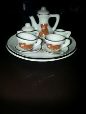 MINIATURE TEA SET BEARS GOLD TRIM CHINA PORCELAIN  1-4 day delivery adorable!