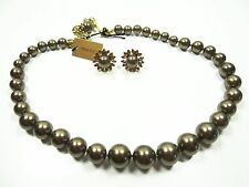 """HEIDI DAUS """"Ladies Who Lunch"""" Simulated Bronze Color Pearl Necklace & Earrings"""