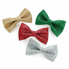 GIRLS 4pc SMALL 4cm GLITTER HAIR BOW CLIP SET GREEN RED GOLD SILVER CHRISTMAS