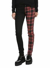 royal bones skinny jeans size 13 SPLIT BLACK TRIPP EMO PUNK GOTH red plaid