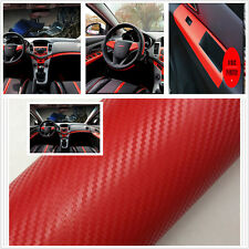 Car Interior Red Twill-Weave Carbon 3D Fiber Vinyl Wrap Film Sheet Decal Sticker