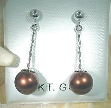9.7mm 14k White Gold Cultured Freshwater Chocolate Pearl Twisted Bar Earrings