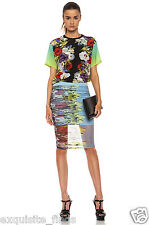 NEW VERSACE  FLORAL SILK TEE AND PRINTED STRETCH MESH SKIRT DRESS-Y SUIT 38
