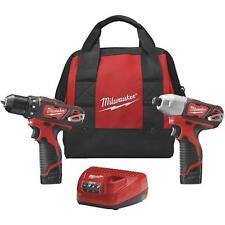 Milwaukee 2494-22 M12 Lithium-Ion Drill and Impact Cordless Tool Combo Kit