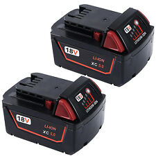 2 Pack 18V 5.0 Ah Lithium Replacement Battery For Milwaukee M18