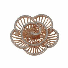 Rose Gold Plated Sterling Silver CZ Flower Womens Pin Brooch