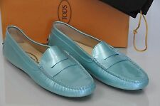 New TOD'S Flats Gommini Moccasins Shoes Blue Teal Patent Leather 10