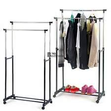Pro - Double Bar Rolling Clothing Garment Retail Display Rack Locking Casters