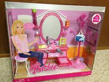 Barbie Doll My Dream House Vanity Set Mirror Bedroom Glam Home Furniture