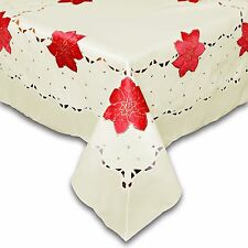 "POINSETTIA FESTIVE TABLECLOTH IN CREAM - SQUARE - 33"" x 33"" (83CM x 83CM)"