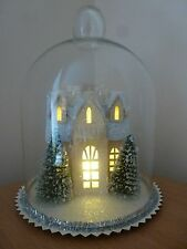 Gisela Graham LED Glass Dome with Church Snow Scene Christmas Decoration 20cm