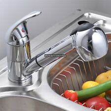 Kitchen Pull-Out Spray Faucet Chrome Single Lever Swivel Spout Sink Mixer Tap