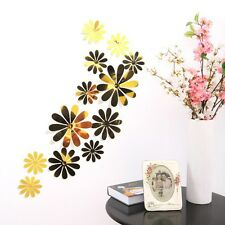 12pcs 3d Flowers Mirror Sticker Decal Wall Fridge Sticker Wall Decoration