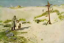 antique David Murray Christian Art Print Shepherd Flock Sheep Dog CROSS ON DUNES