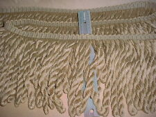 """12-5/8y CONSO 097611 BEIGE / SILVERY GOLD 9"""" FAT BULLION DRAPERY UPHOLSTERY TRIM"""