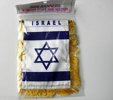 ISRAEL ISRAELI MINI POLYESTER INTERNATIONAL FLAG BANNER 3 X 5 INCHES