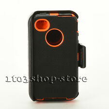 Defender Hard Rugged Case Cover w/Holster Belt Clip for iPhone 4 4s Black/Orange