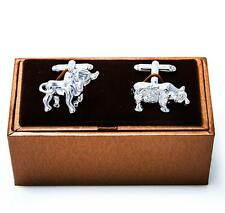 Bull and Bear Cufflinks Wedding Father Dad Groom Prom Gift Box Free Ship