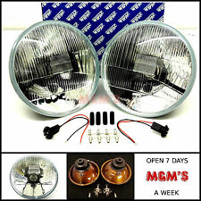 "LHD CLASSIC MINI -  LANDROVER WIPAC QUADOPTIC 7"" HALOGEN HEADLIGHTS KIT x 2 NEW"