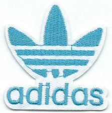Blue on White Adidas Leaf Embroidered Iron-on Patches Art Good Luck Magic