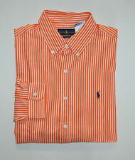 NWT Men's Ralph Lauren Casual Long-Sleeve Shirt, Orange, White, M, Medium