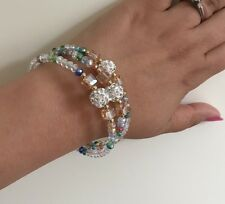 HIGH QUALITY Clear  Beads With Multi ColourShamballa CHARMS CHAIN  LINK BRACELET